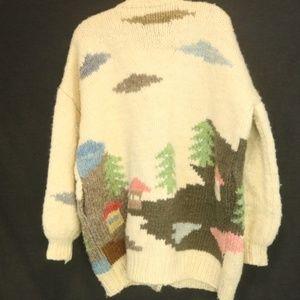 "Handknit Womens 52"" Bust Sweater Cardigan Chunky"